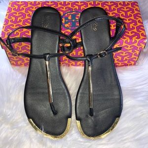 Mossimo Black and Gold Flat Buckle Sandals